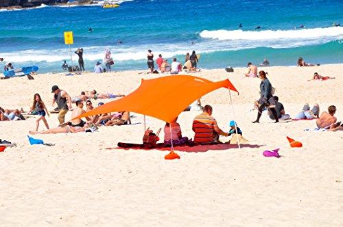 ZiggyShade UPF50 Lycra Fabric Family Beach Sunshade Tent with Sandbag Anchors and 4 Pegs, Orange