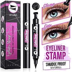 Eyeliner Stamp, Black, Waterproof, Smudge Proof, Winged Long Lasting Liquid Eye Liner Pen, Vamp Style Wing, 2 Pens in a Pack - 10 mm - Vegan & Cruelty Free Makeup