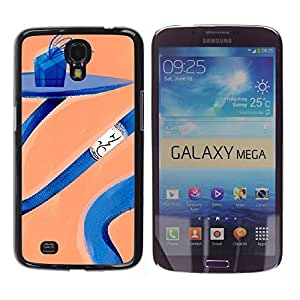 MOBMART Carcasa Funda Case Cover Armor Shell PARA Samsung Galaxy Mega 6.3 - Blue Spiral Table