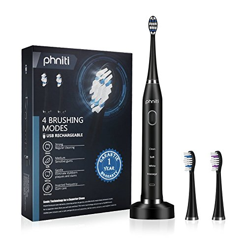 Sonicare Electric Toothbrush for Adults with Wireless Charging Base, 2 Replacement Brush Heads by Phniti, Black