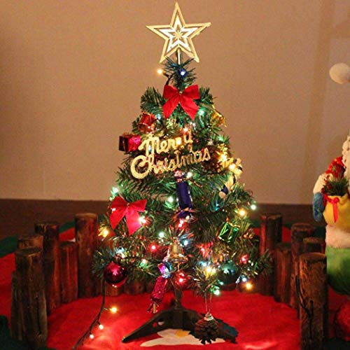 Partion Artificial Christmas Tree-Artificial Mini Xmas Tree-with Hanging Ornaments +Strip Light for Holiday Festival Home Decor-18 inch(Battery Not Included) from Partion