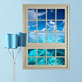 Transer 3D Window Sea View Wall Stickers Removable Art Decal Mural Wallpaper (colorful)