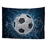 FOR U DESIGNS Sport Fashion Tapestry Decor Blue Underwater Background Art Print Soccer Wall Hanging for Bedroom Living Room Dorm X-Large