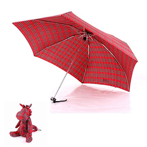 Amazon.com: Umbrellas Rain Women Umbrella Women Ultralight Manual Umbrellas With Lovely Bear Small Umbrella Case 5 Folding Anti-UV Sun/Rain Elargol Coating ...