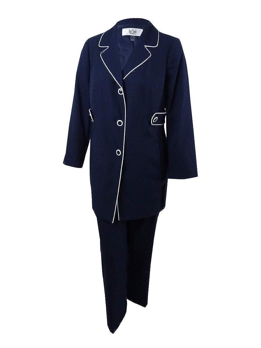 Le Suit Womens Plus Size Piping-Trim Pantsuit