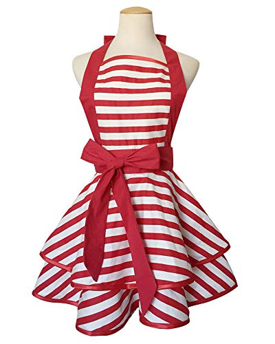 Floosum 1950's Style Vintage Retro Red Striped Double Layer Cooking Apron for Women Woman Girl BBQ (50s Aprons For Women)