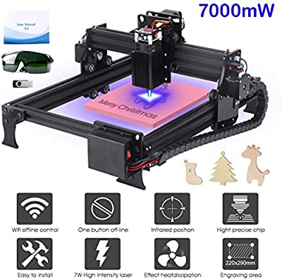 Yofuly 7000mW Laser Engraving Machine Upgrade Version DIY Desktop CNC Engraving Machine Wood Router Engraver, Support Computer/Android WIFI/Off-line Control Laser Printer with Protective Glasses