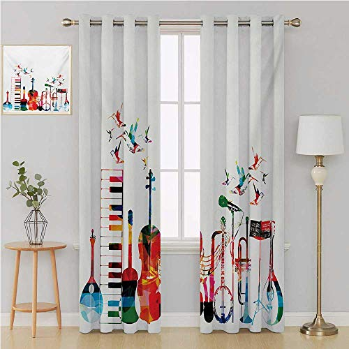 Music grommit Curtain Thermal Insulated Blackout CurtainsColorful Musical Instruments Keyboard Guitar Banjo Trumpet Cello and Flying Birdscurtains 108 by 108 InchMulticolor