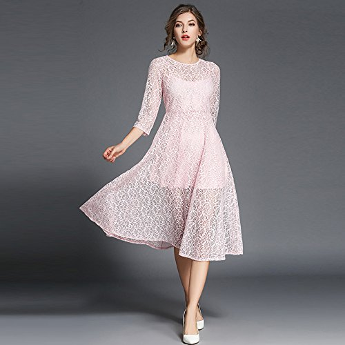 Slim Gran ZHUDJ Slim Swing Vestido Señoras Pink Vestido Encaje Temperamento 44qwAE8H