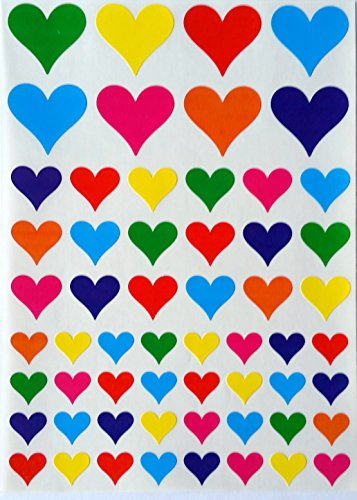 Multi color heart stickers- 3 sizes --7 colors-- 580 Total Count Heart Shape Adhesive Labels