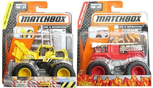 Matchbox Flame Stomper & Work Ready Tractor Monster Fire Engine Truck & Front Loader Construction (Fire Monster Truck)