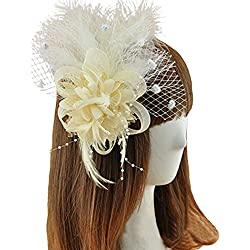 Coolr Fascinator Hair Clip Feather Wedding Headwear Bridal Headpiece for Women (Beige)