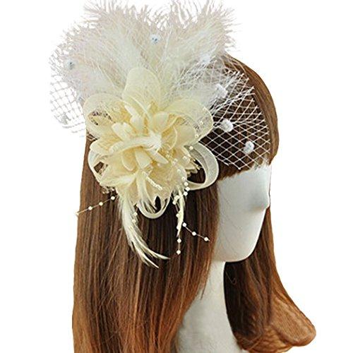[Coolr Fascinator Hair Clip Feather Wedding Headwear Bridal Headpiece for Women (Beige)] (Ganster Hat)