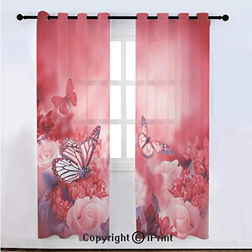 Rose Semi Sheer Voile Window Curtain With Drapes Grommet,Romantic Bouquet of Roses with Butterflies Dreamy Spring Garden Buds Blooms Decorative,for Bedroom,Living Room & Kids Room(108