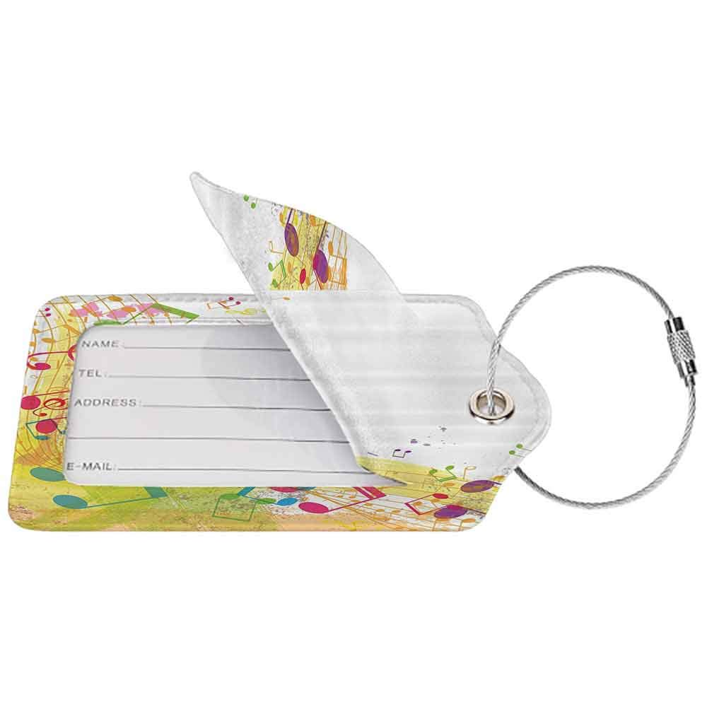 Multi-patterned luggage tag Music Decor Collection Abstract Grunge Music Themed Art with Notes Cheerful Modern Illustration Image Double-sided printing Green Magenta Yellow W2.7 x L4.6
