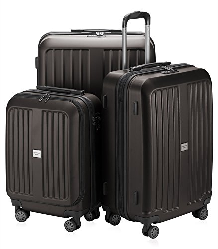 HAUPTSTADTKOFFER X-Berg Set of 3 Hard-side Luggages matt Suitcase Hardside Spinner Trolley Expandable (20°, 24° & 28°) TSA Graphite Abs Trolley