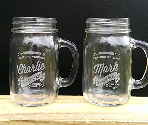 One Retro Personalized Mason Jars Drinking Mugs With