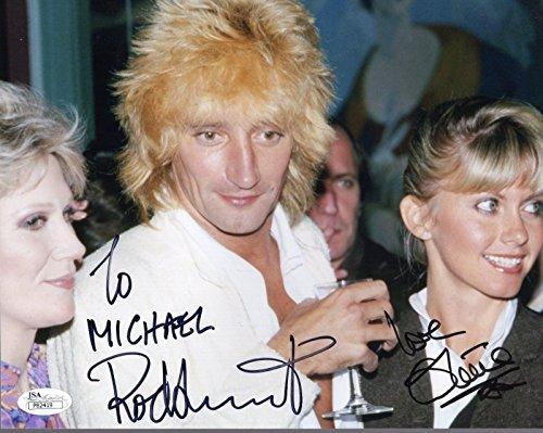 ROD STEWART+OLIVIA NEWTON JOHN HAND SIGNED 8x10 PHOTO RARE TO (Stewart Hand Signed)