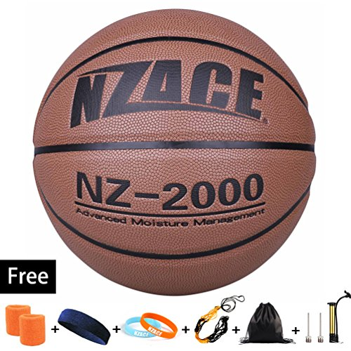 Wilson Womens Spring - NZACE Basketball Outdoor/Indoor Game Balls Leather High End Street Basketballs Competition Official size 7/29.5 with Pump, Needles, Net, Waist (New Gray)