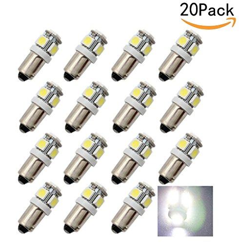 JKLcom BA9S LED Bulb 20 Pack,5050 5SMD BA9S LED Light bulb white for Car Interior Light (Cargo Eye Lighter)