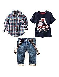 JELEUON Toddler Baby Boys 3pcs Plaid Shirts +Car Printing T-Shirt +Jeans Clothing Sets Outfits