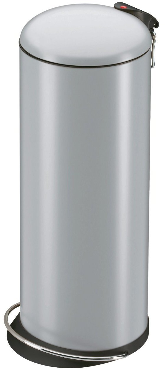 Hailo 0523-019 Pedal Bin TopDesign M, 24 l, Stainless Steel, metal foot rail, galvanized inner bin. 9204015018 Bins & Storage Refuse Bins curved lid ergonomic foot rail galvanised inner bin hygienic soft lock system