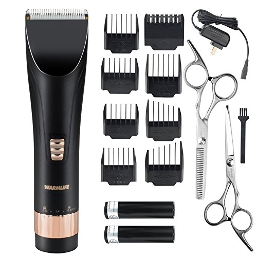 Warmlife Hair Clipper Professional Cordless Rechargeable Haircut Kit, High Performance Shortcut Hair Trimmer with 2 Batteries- Great for (Professional Barber Clippers Kit)