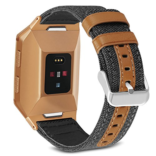 Orange Bracelets Genuine (SKYLET Bands for Fitbit Ionic, Canvas Fabric with Genuine Leather Straps with Metal Clasp for Fitbit Ionic Smart Watch (Smart Watch Not Included)[Black with Burnt Orange Connector])