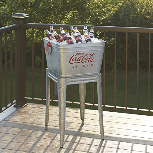 42 Quart Galvanized Coca-Cola Wash Tub Cooler with Stand by Cola-Cola
