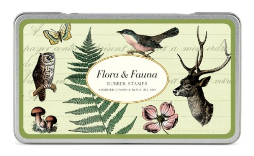 Cavallini Rubber Stamps Flora & Fauna, Assorted with Ink (Bird Rubber Stamp)