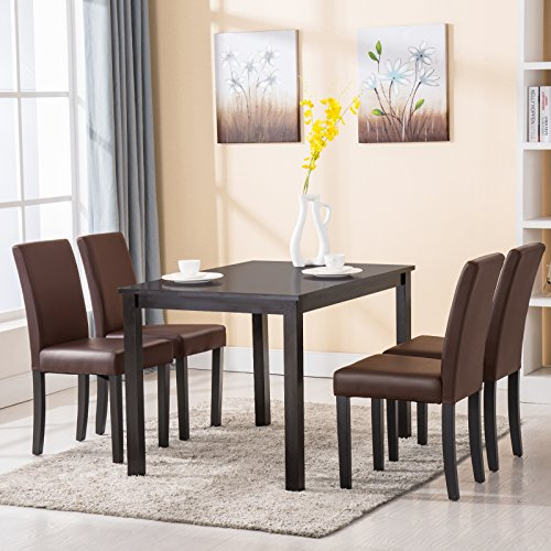 4 Family 5 Piece Dining Table Set 4 Chairs Kitchen Room Dinette Breakfast Wood Furniture