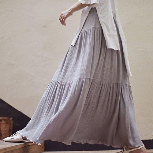 Longue Longue Plisse Jupe Jupe Casual Gris MISSMAO Style Boheme Rtro Taille Bohme Jupe Longue Jupe Femme Uni Haute Cheville Maxi Jupe PzInI6T