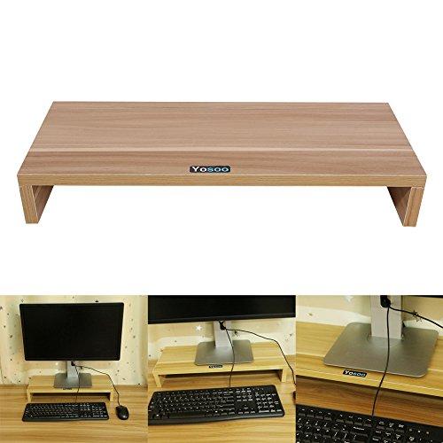 Wooden Monitor Stand Riser,LED LCD Computer Monitor Riser Desktop Organizer Display Shelf for Computer Monitor Laptop TV Printer,Burlywood