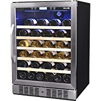 NewAir AWR-520SB 52 Bottle Built in Compressor Wine Cooler, Stainless Steel & Black