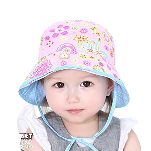 SuperMagic Unisex Baby Reversible Floral Hat Brimmed Bucket Summer Sun Protection UPF50+ (Pink)