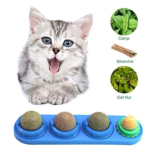 Perfuw Compressed Catnip, Cat Natural Catnip Ball Kitty Chew Toy, Silvervine Catnip Plant, Cat Teeth Cleaning, Catnip Balls for Cats with Cat Sugar, Non-Toxic Cat Dental Treats Rotating Ball