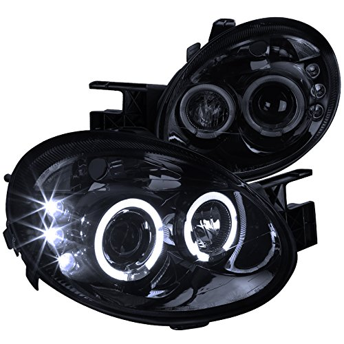 Spec-D Tuning LHP-NEO03G-TM Black Projector Headlight (Halo Led Gloss Housing With Smoked Lens) - Dodge Neon Halo Headlights