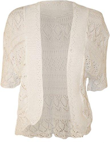 RM Fashions Womens Plus Size Crochet Knit Bolero Cardigan Shrug Top White XXL