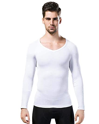9008ea98 Rosie Men's Compression Body Shaper Thermal Top Slimming Shirt Back Support Long  Sleeve,White,
