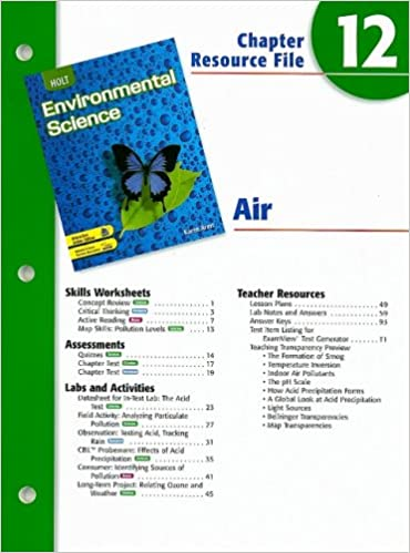 Holt Environmental Science Chapter 12 Resource File Air Karen Arms