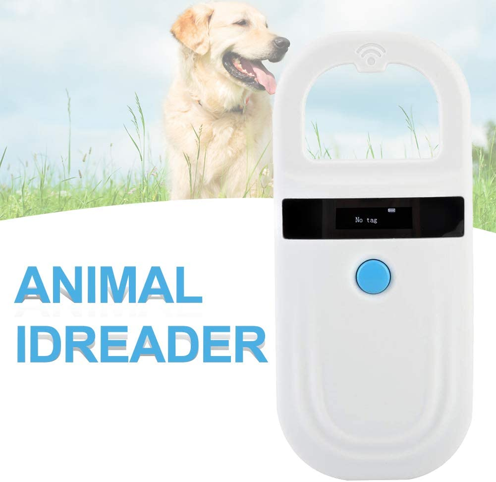 Pet ID Microchip Scanner with 0.91 Inch High Brightness OLED Display 128 Pieces of Tag Information Storage for Animal Tracking Microchip Reader RFID 134.2Khz