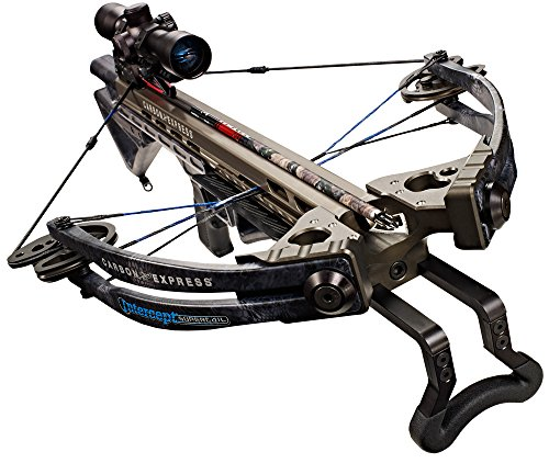 Carbon Express Intercept Supercoil Crossbow Kit (Rope Cocker, 3 Arrow Quiver, 3 Crossbolts, Rail Lubricant, 3 Practice Points, 4x32 Deluxe Lighted Scope), Kryptek Typhon Cam