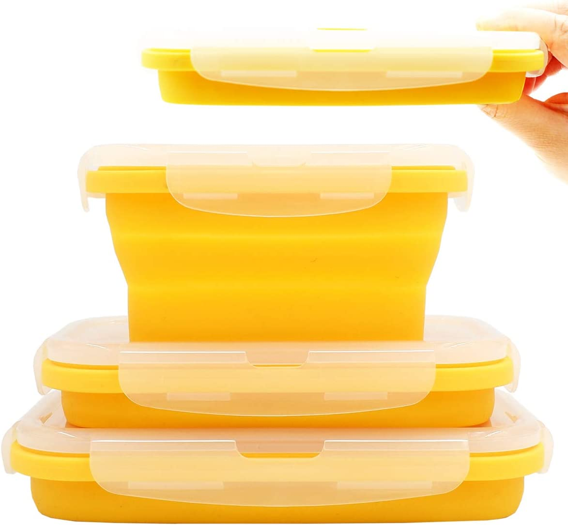 Duoyou Collapsible Silicone Lunch Bento Box, Portable Food Storage Container Outdoor Picnic Box Space Saving, Microwave, Dishwasher and Freezer Safe, 3 Pcs Set (Orange)