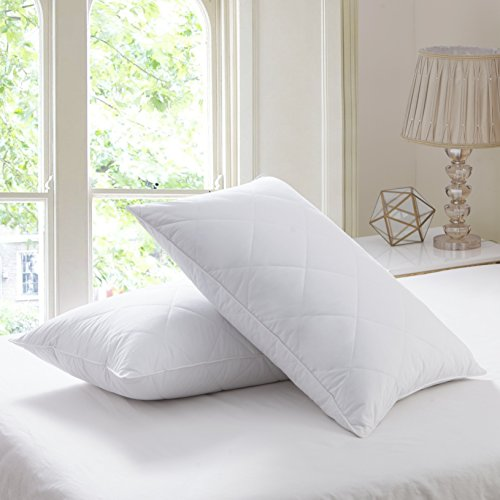 Set of 2 Goose Feather Pillows King Size - 600 Thread Count Cotton Cover,20x36 (Set of 2-King),Medium Firm Feather Pillow,Twin pack