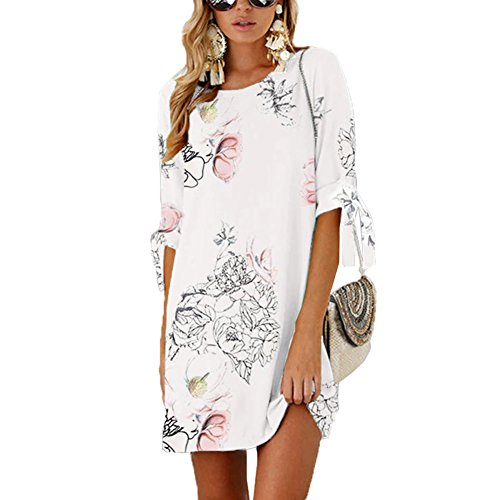 Tunic Mini Dress Print Sleeves Women Shirt A Casual Floral Self Shift Line ANRABESS Chiffon 10 Summer at Dress tie Oxwf07pq