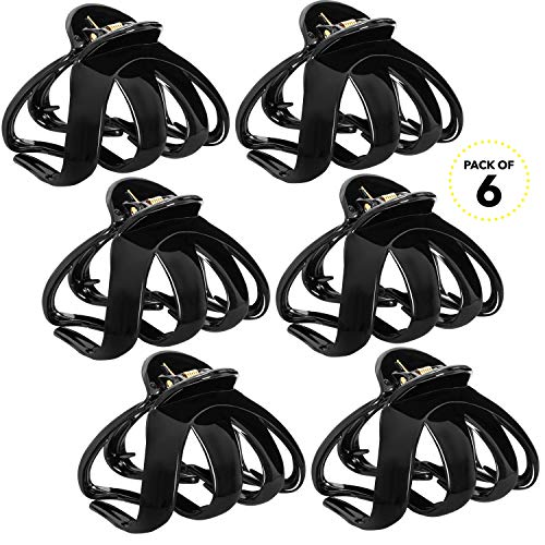 RC ROCHE ORNAMENT Womens Hair Plastic Flat Claw Jaw Strong Hold No Slip Grip Clamp Interlocking Teeth Everyday Professional Girls Octopus Clip, 6 Pack Count Large Black by RC ROCHE ORNAMENT