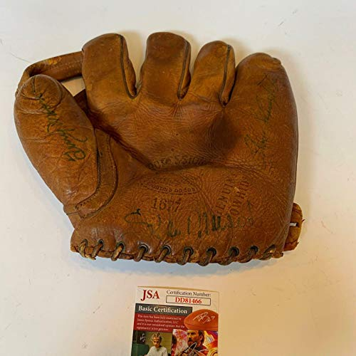 Stan Musial Enos Slaughter Terry Moore Signed 1940's Baseball Glove COA - JSA Certified - Autographed MLB Gloves