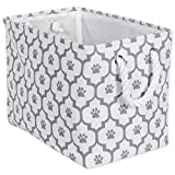 DII Bone Dry Medium Rectangle Pet Toy Accessory Storage Bin, 16x10x12, Collapsible Organizer Storage Basket Home Decor, Pet Toy, Blankets, Leashes Food-Gray Lattice Paw Print