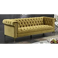 Iconic Home FSA2612-AN Gold/COGNAC Gold Bea Velvet with Nail head Trim Tone Metal Sofa