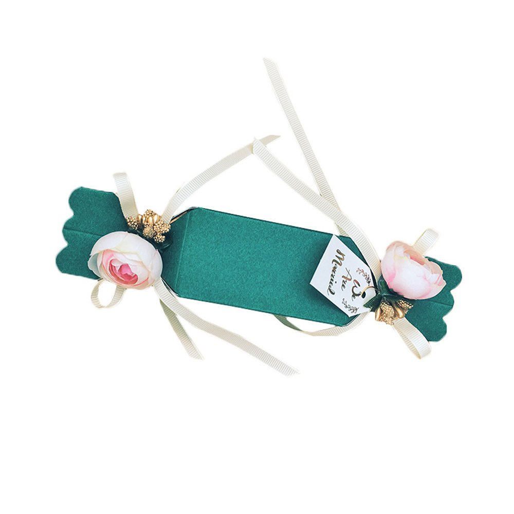 Moleya 20 pcs DIY Wedding Party Fvors Boxes with Ribbon and Flower for Engagement, Bridal Shower Party--Forest Green